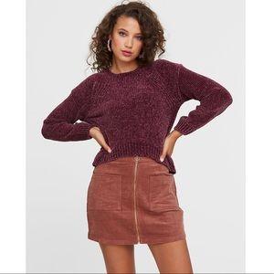 Purple chenille pull over sweater